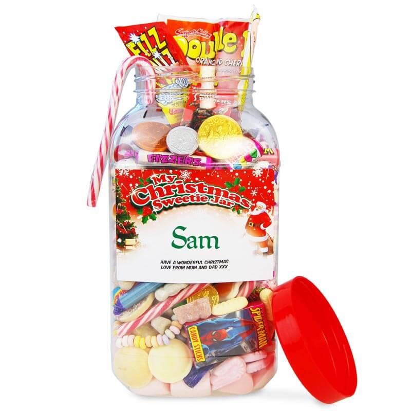 Personalised Christmas Sweetie Jar - Large