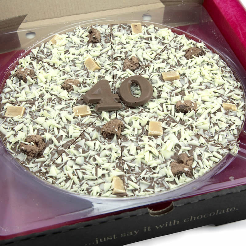 "40th Birthday Chocolate Pizza - 10"" - 40th Birthday Special Presents"