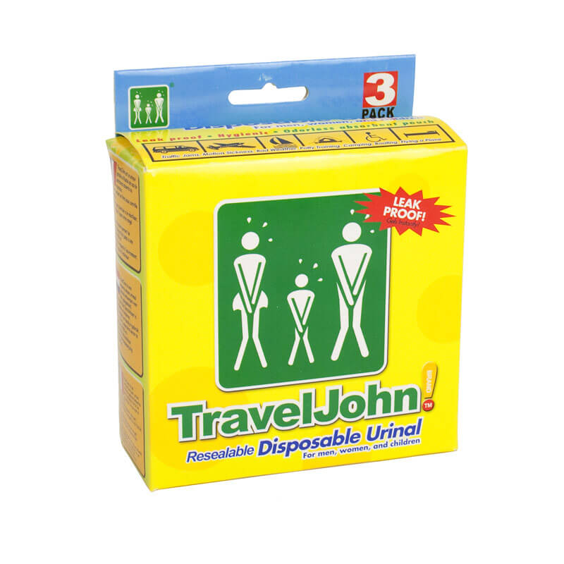 TravelJohn Resealable Disposable Urinal - Pack of 3 - 21st gift