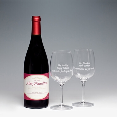 Personalised Red Wine with Engraved Glasses
