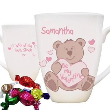 Personalised Be My Valentine Bear Mug