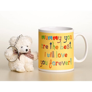 Personalised Mothers Day Mug for my Mummy with Bear Keyring