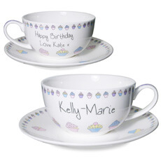 Personalised Cupcake Tea Cup & Saucer