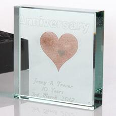 Personalised Square Glass Keepsake - Anniversary