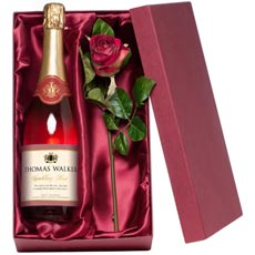 Personalised Sparkling Rose Wine with Silk Rose