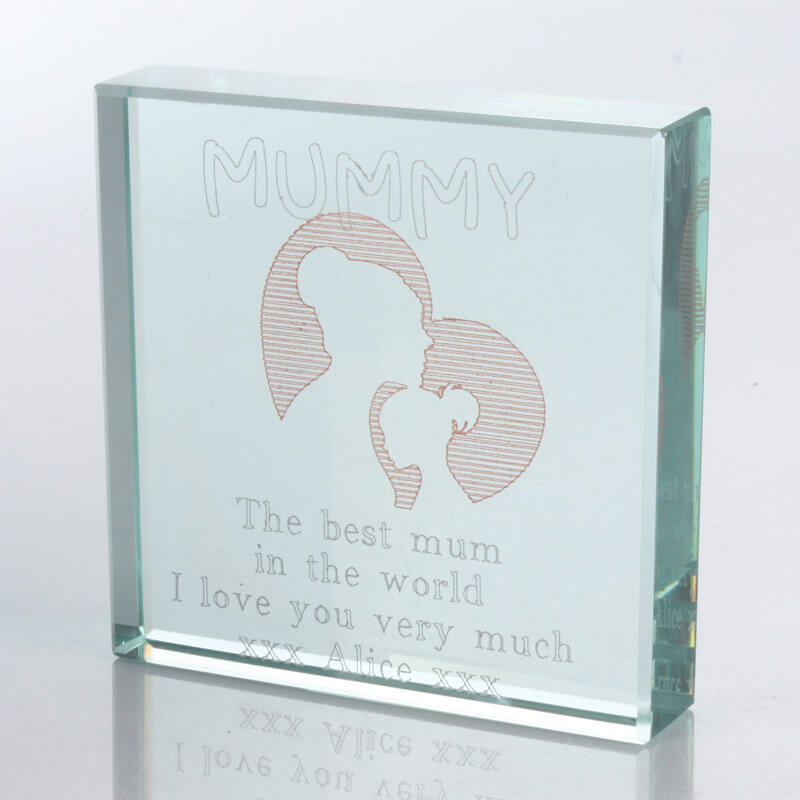 Personalised Square Glass Keepsake - Mummy