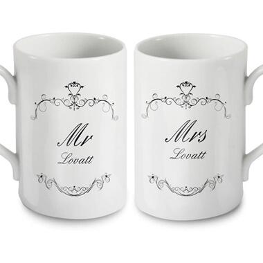 Personalised Ornate Mr and Mrs Mug Set