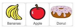 Banana, apple and doughnut