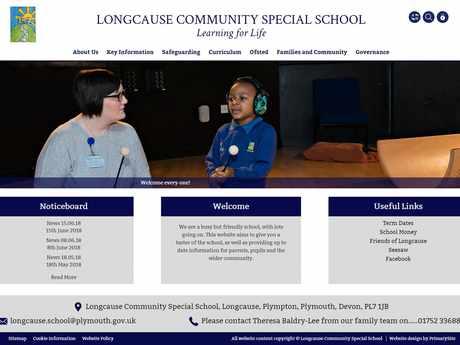 Longcause Community Special School website design