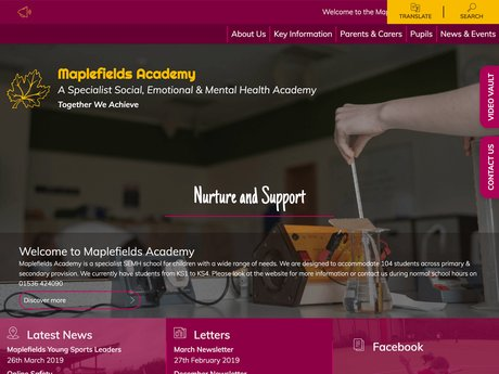 Maplefields Academy Website Design