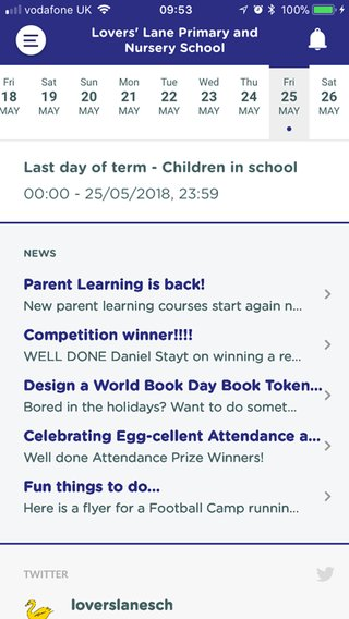 PrimarySite app screenshot of school calendar