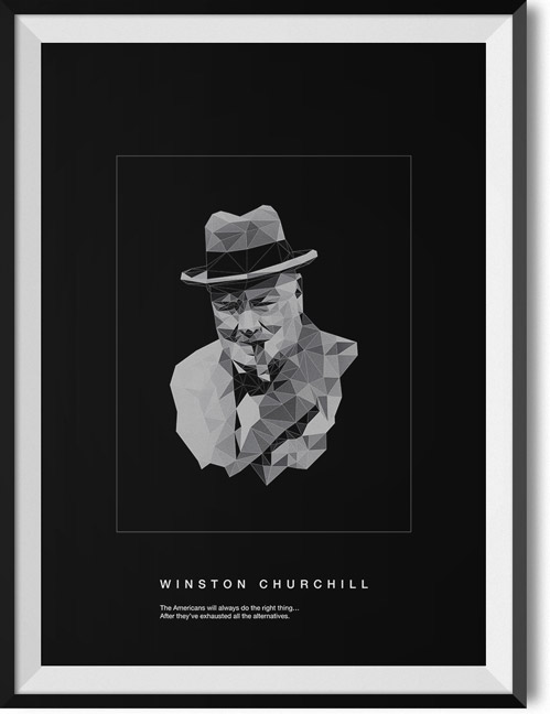 "Winston Churchill ""Americans II"" quote poster"