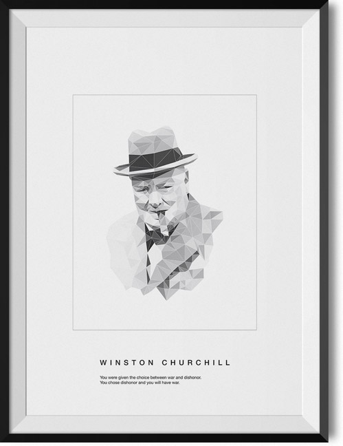 "Winston Churchill ""Dishonor"" quote poster"