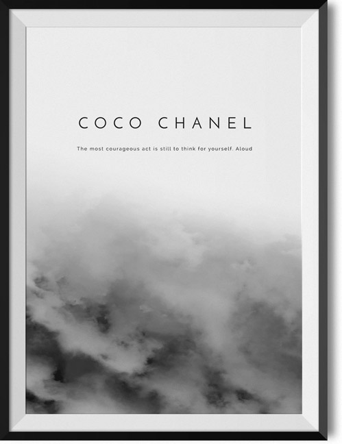 "Coco Chanel ""Think for yourself"" quote poster"