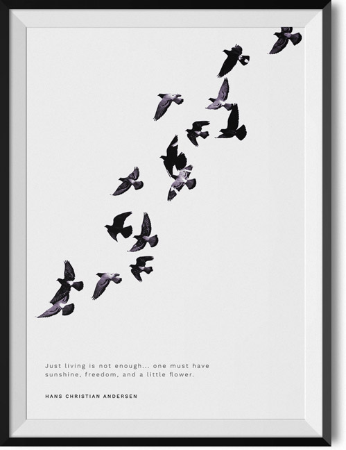"Hans Christian Andersen ""Just living"" quote poster"