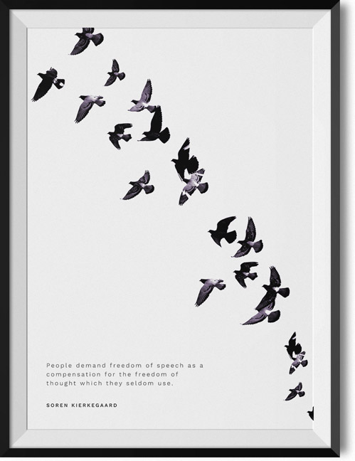 "Soren Kierkegaard ""Freedom of speech"" quote poster"