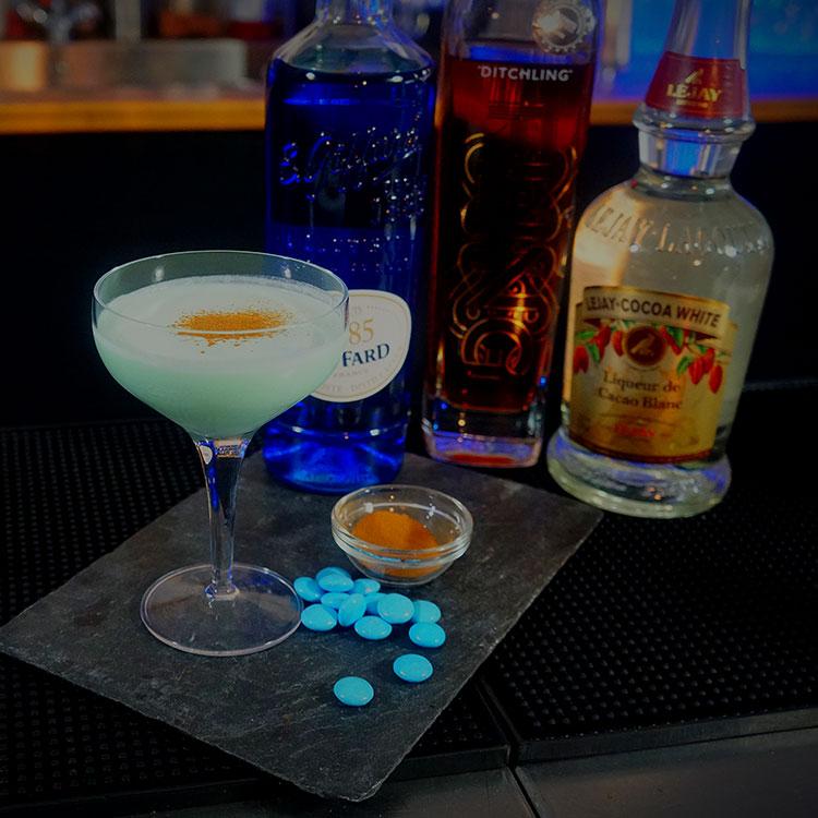 Photograph: Blue Smartie cocktail