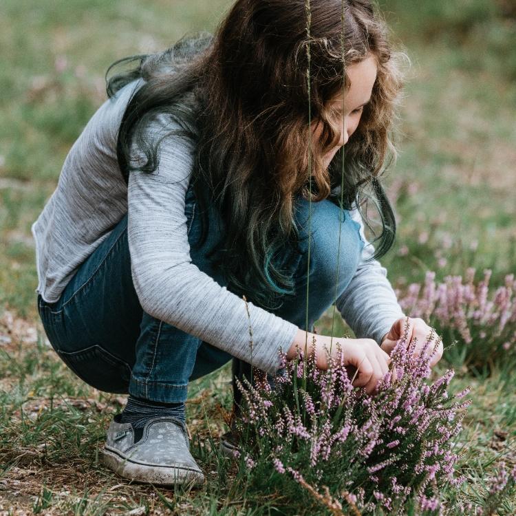 Photograph: Girl picking wild flowers