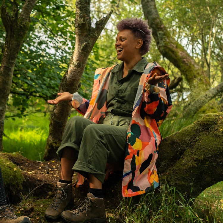 Photograph: Gemma Cairney laughing outdoors