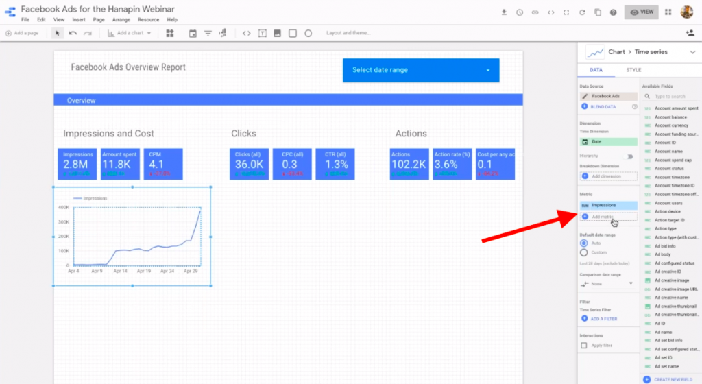 add a metric to time series graph in google data studio