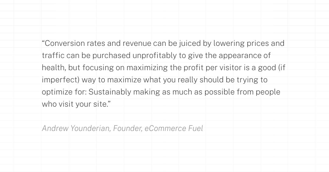 """""""Conversion rates and revenue can be juiced by lowering prices and traffic can be purchased unprofitably to give the appearance of health, but focusing on maximizing the profit per visitor is a good (if imperfect) way to maximize what you really should be trying to optimize for: Sustainably making as much as possible from people who visit your site."""""""