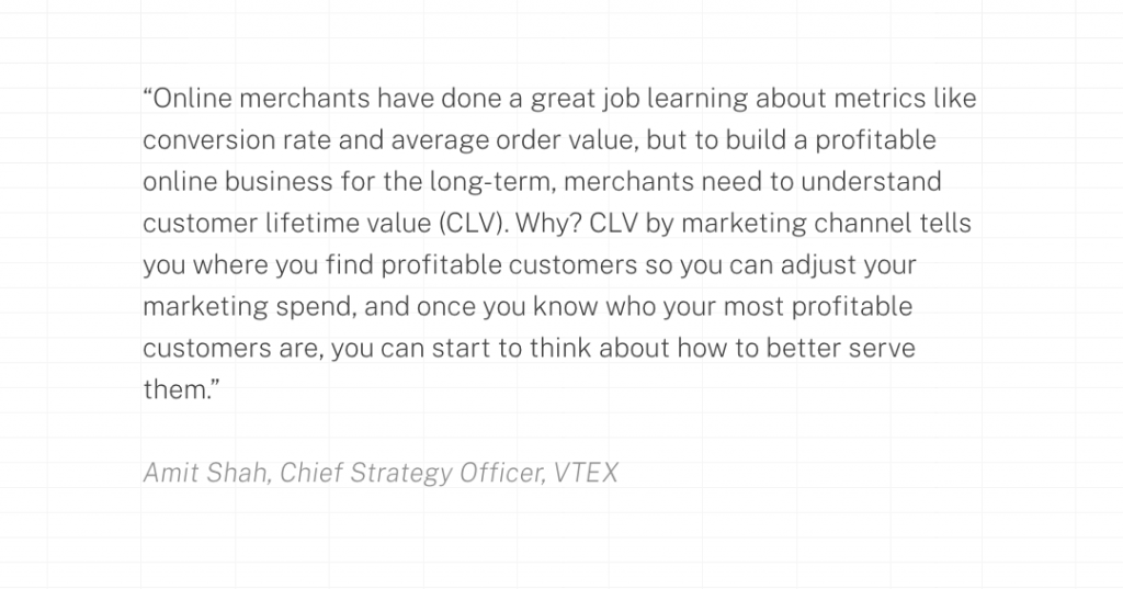 Online merchants have done a great job learning about metrics like conversion rate and average order value, but to build a profitable online business for the long-term, merchants need to understand customer lifetime value (CLV). Why? CLV by marketing channel tells you where you find profitable customers so you can adjust your marketing spend, and once you know who your most profitable customers are, you can start to think about how to better serve them.
