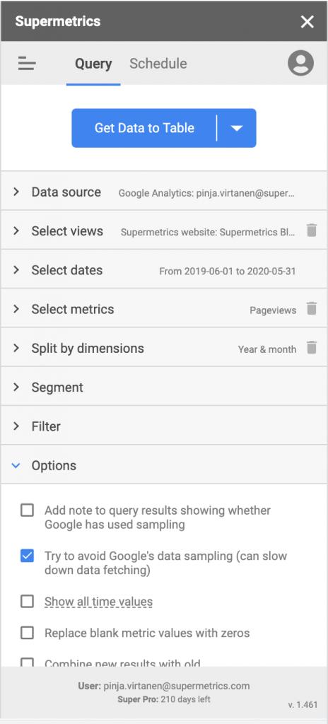 Avoid Google Analytics sampling in Supermetrics for Google Sheets
