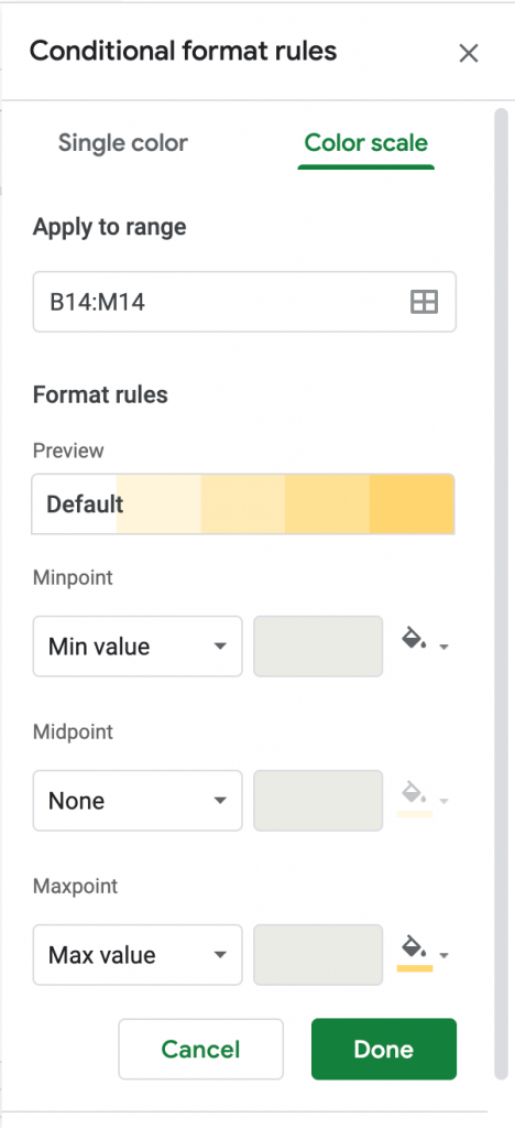 How to do conditional formatting row by row