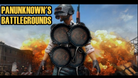 Spoof of the promotional image for PUBG showing a character armoured with four frying pans.