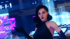 A woman in a black halter dress wearing a red lipstick in Agents of Mayhem