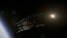 An alien fighter ship in the space simulator Star Citizen