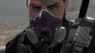 Screenshot from Metal Gear Survive showing the protagonist with his gas mask.