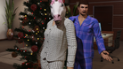 A couple in GTA Online. The woman in the picture has a unicorn mask on