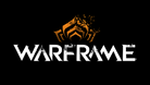 Promotional logo for Warframe written in white letters with an orange symbol on a black background.