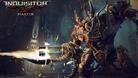 Huge robot is shooting a gatling gun in Warhammer 40K: Inquisitor - Martyr