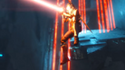 Destiny 2 character jumping off a ledge while shooting a red laser beam