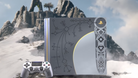 Picture of PlayStation 4 Pro designed to resemble Kratos' runic axe from the new God of War.