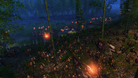 Total War: Three Kingdoms early screenshot showing army marching through the woods at night