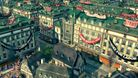 Anno 1800 screenshot of riot or strike in the city street with banners