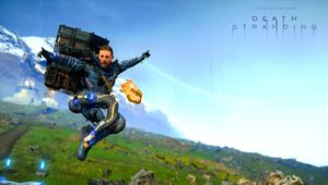 Death Stranding screenshot showing the main character jumping