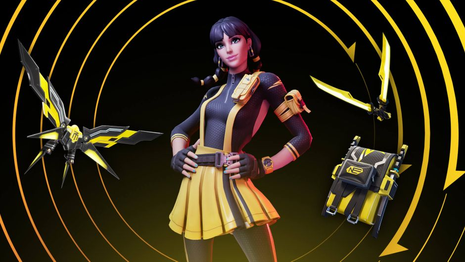 Fortnite female character in black-and-yellow outfit