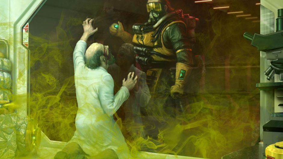 Apex Legends artwork of Caustic character executing a person in a lab coat with gas