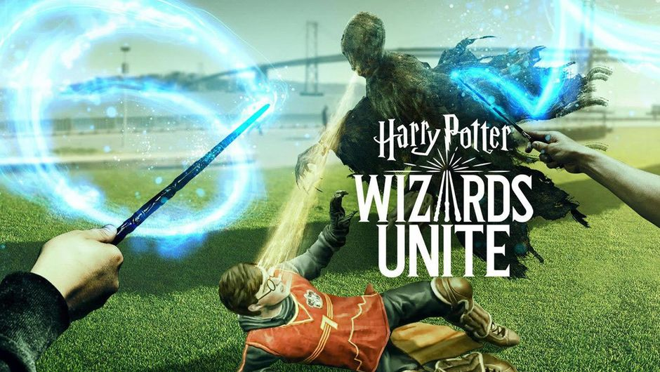 Harry Potter: Wizards Unite poster showing Harry and a ghost