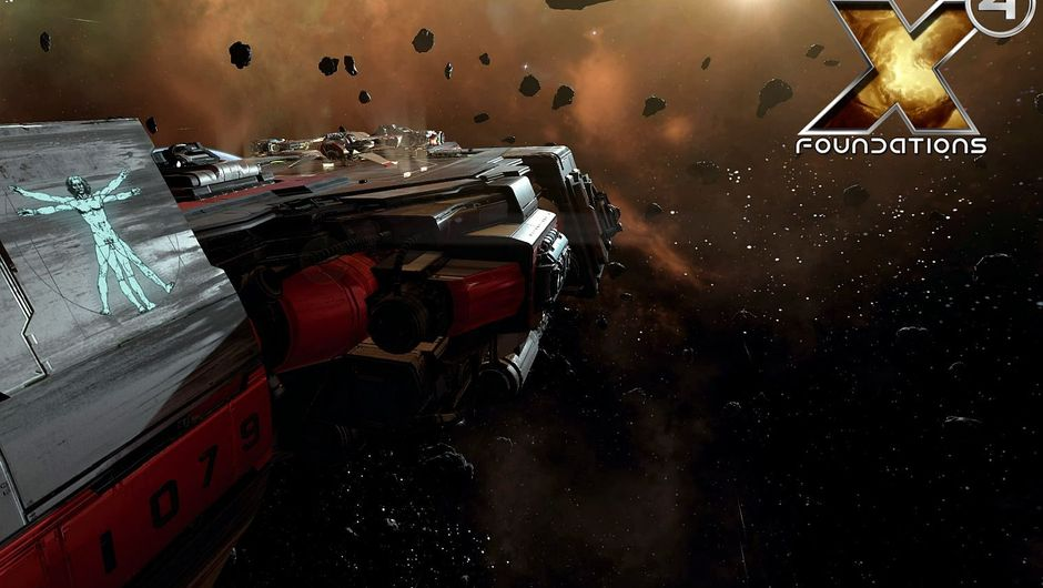 X4: Foundations screenshot of carier in an orange asteroid field
