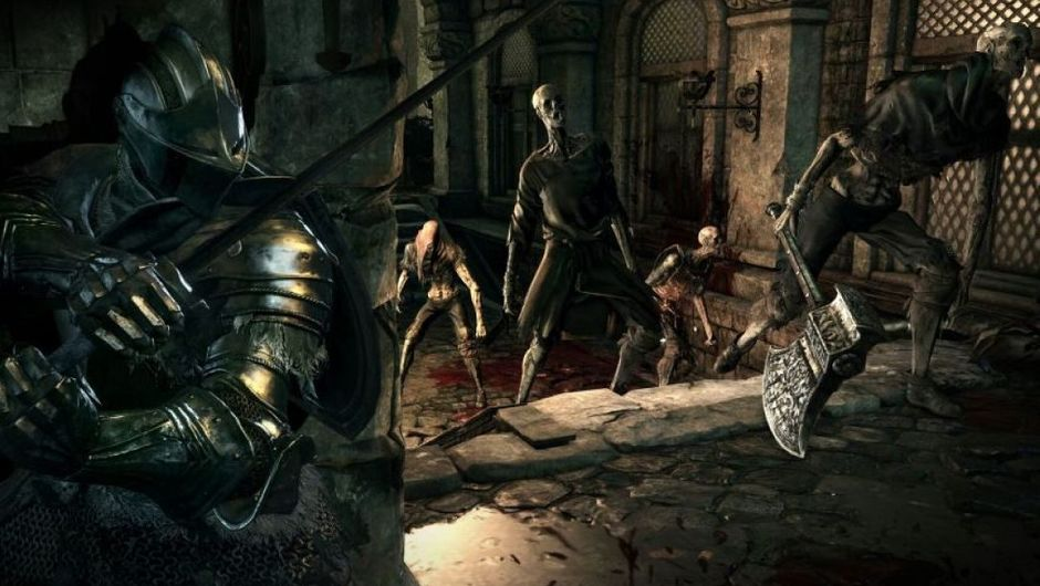 An armoured knight ambushing three skeletons