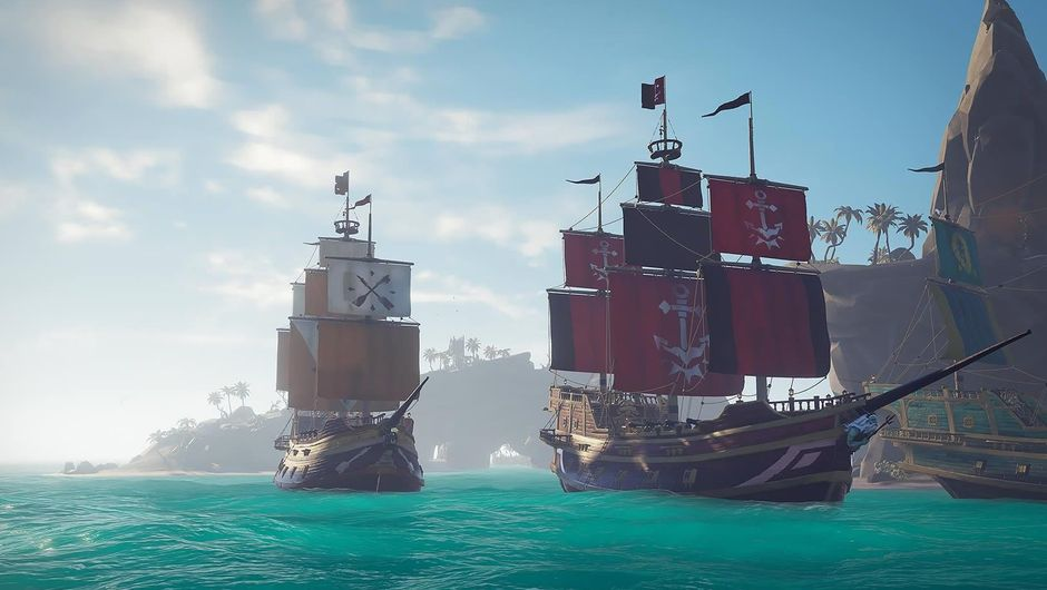 Two pirate ships sailing away from a cove in Sea of Thieves