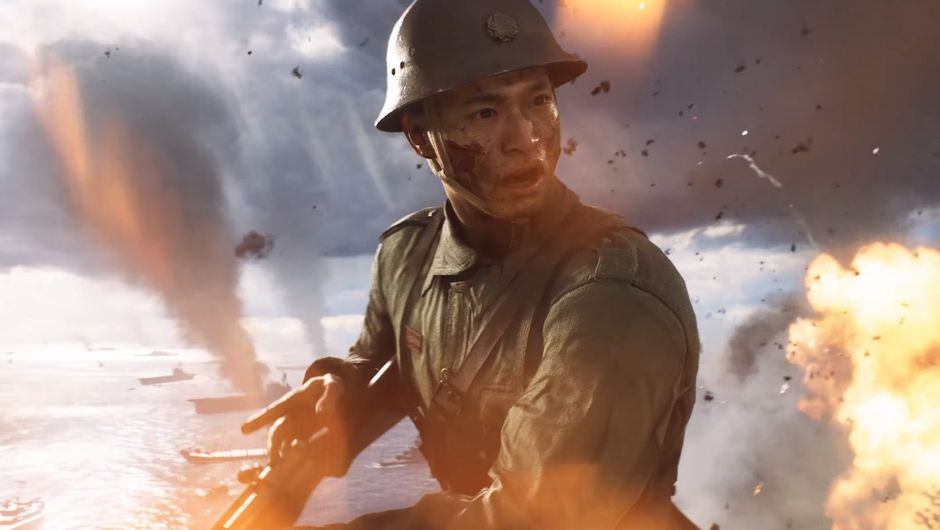 screenshot from battlefield v showing asian solider in fight
