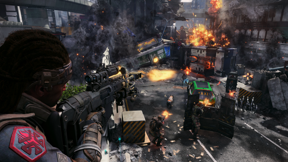 In-game character holding a rifle, overlooking a destroyed city.