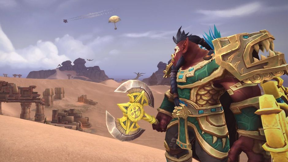 Screenshot of an Orc looking at an air drop in Battle for Azeroth