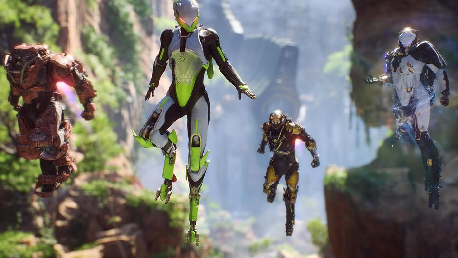 Four Javelins, exosuits from Anthem, hovering in the air